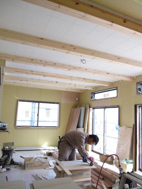 大工工事 1階天井仕上貼り-伊那市境a様邸